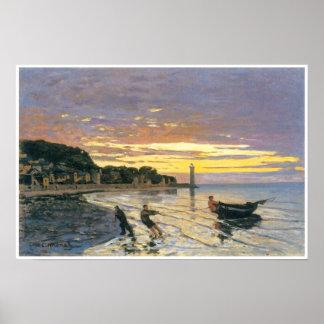 Towing a boat, Honfleur, 1864, Claude Monet Print