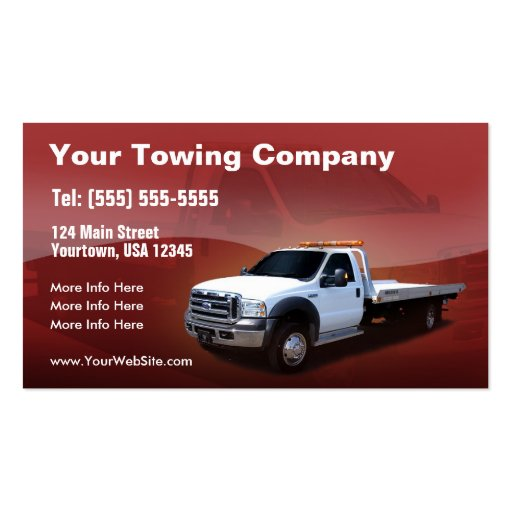 Towing Company white truck design Business Card : Zazzle