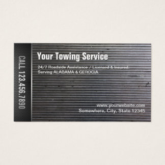 Towing Service Professional Grunge Metal Business Card