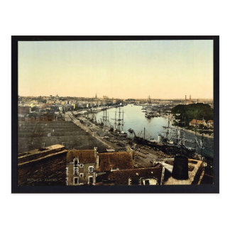 Town and harbour, Nantes, France classic Postcard