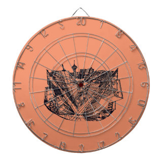 town center in 3 POINT perspective Dartboard