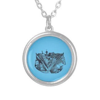 town center in 3 POINT perspective Silver Plated Necklace