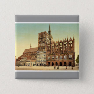 Town hall and St. Nicholas Church, Stralsund, Pomm 2 Inch Square Button