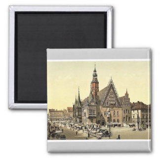 Town hall from the east, Breslau, Silesia, Germany Square Magnet