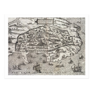 Town map of Alexandria in Egypt, c.1625 (engraving Postcard