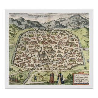 Town map of Damascus, Syria, 1620 (engraving) Poster