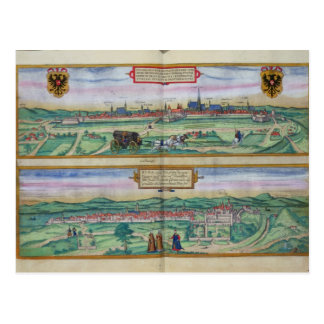 Town Plan of Vienna and Buda, from 'Civitates Orbi Postcard