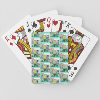 Town playing cards, aqua playing cards