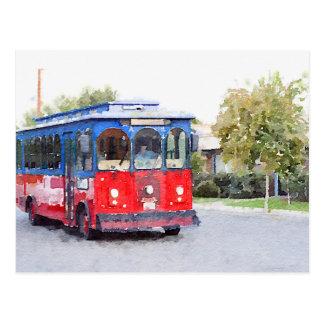 Town Trolley Watercolor Postcard