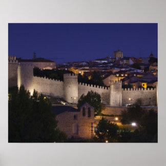 Town walls from Los Cuarto Postes, dusk Poster