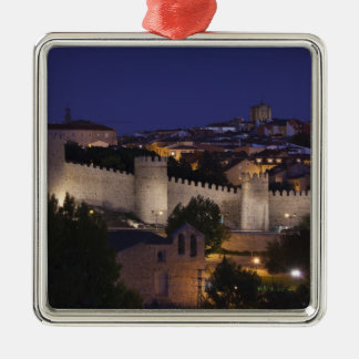Town walls from Los Cuarto Postes, dusk Silver-Colored Square Ornament