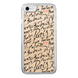Towns of France Pattern Carved iPhone 8/7 Case