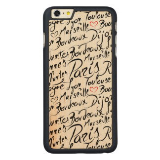 Towns of France Pattern Carved Maple iPhone 6 Plus Case