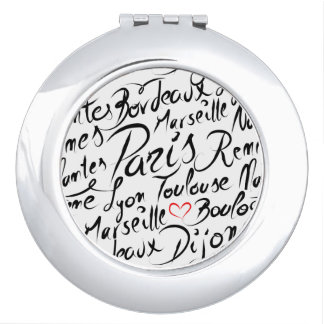 Towns of France Pattern Compact Mirror