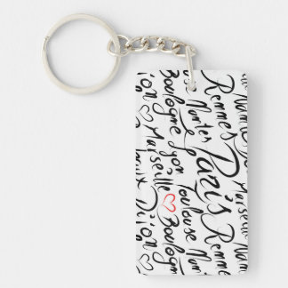 Towns of France Pattern Keychain