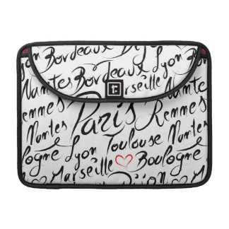 Towns of France Pattern Sleeve For MacBook Pro