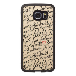 Towns of France Pattern Wood Phone Case