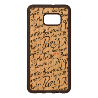 Towns of France Pattern Wood Samsung Galaxy S6 Edge Case