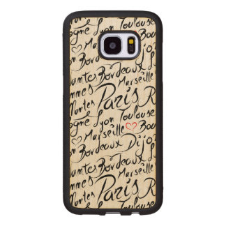 Towns of France Pattern Wood Samsung Galaxy S7 Edge Case