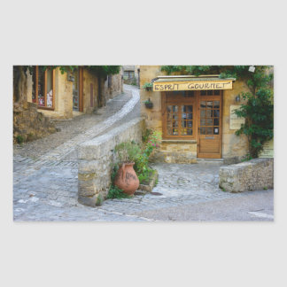 Townscape in Dordogne, France rectangular sticker
