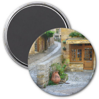 Townscape in Dordogne, France round magnet