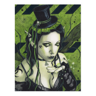 Toxic Gothic Green Fairy Postcard
