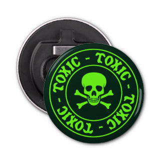 Toxic Green Skull and Crossbones Bottle Opener