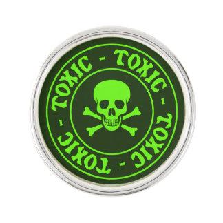 Toxic Green Skull and Crossbones Lapel Pin
