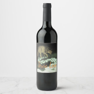 Toxic Love Wolf Trailing Death Mushrooms Wine Label