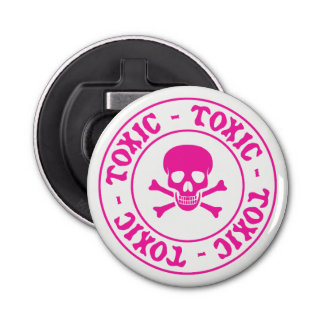 Toxic Pink Skull and Crossbones Bottle Opener