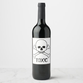 Toxic Skull And Crossbones Design Wine Label