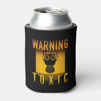 Toxic Warning Gas Mask Retro Atomic Age Grunge : Can Cooler