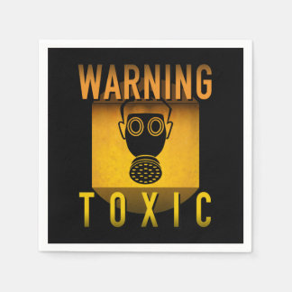Toxic Warning Gas Mask Retro Atomic Age Grunge : Disposable Napkins