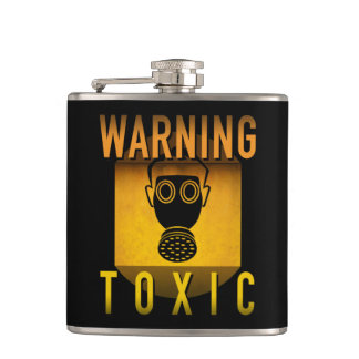 Toxic Warning Gas Mask Retro Atomic Age Grunge : Hip Flask