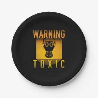 Toxic Warning Gas Mask Retro Atomic Age Grunge : Paper Plate