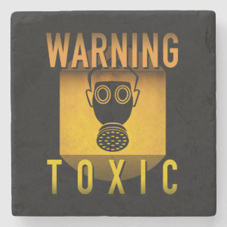 Toxic Warning Gas Mask Retro Atomic Age Grunge : Stone Beverage Coaster