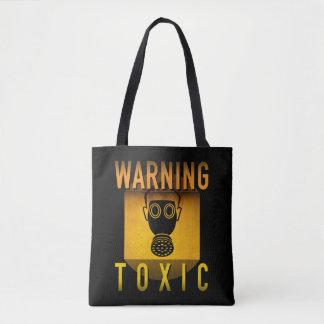 Toxic Warning Gas Mask Retro Atomic Age Grunge : Tote Bag