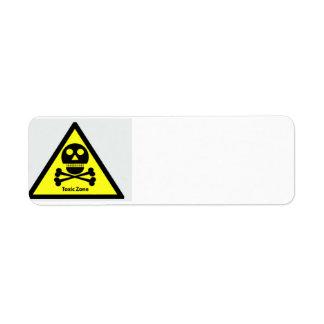 Toxic Zone Sign Return Address Label