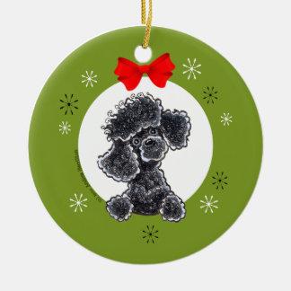 Toy Black Poodle Christmas Classic Ceramic Ornament