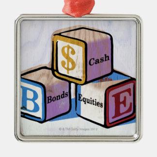 Toy Blocks Silver-Colored Square Ornament