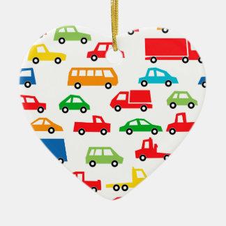 toy car pattern - automobile illustration ceramic heart ornament