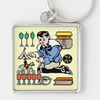 Toy Collector Silver-Colored Square Keychain