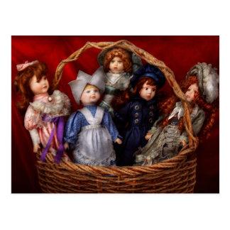 Toy - Dolls - A basket of Victorian dolls  Postcard