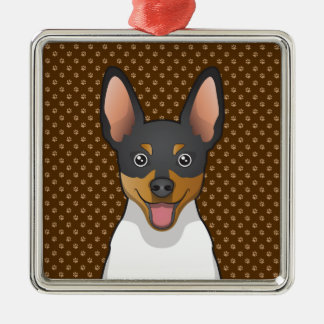 Toy Fox Terrier Cartoon Paws Metal Ornament