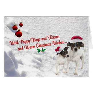 Toy Fox Terrier Christmas Snow Scene Greeting Card