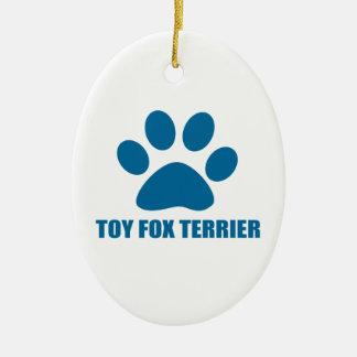 TOY FOX TERRIER DOG DESIGNS CERAMIC ORNAMENT