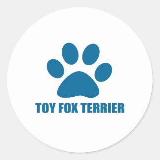 TOY FOX TERRIER DOG DESIGNS CLASSIC ROUND STICKER