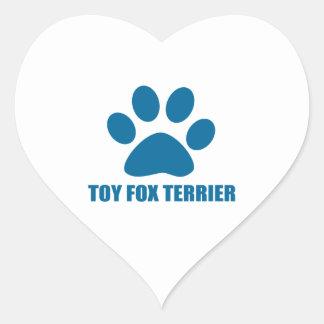 TOY FOX TERRIER DOG DESIGNS HEART STICKER