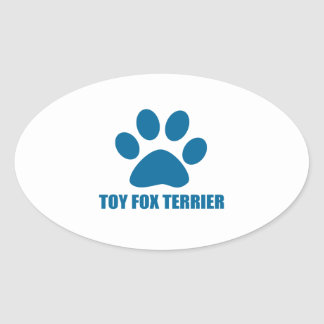 TOY FOX TERRIER DOG DESIGNS OVAL STICKER