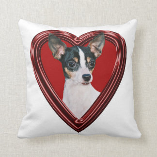 Toy Fox Terrier In Heart Throw Pillow